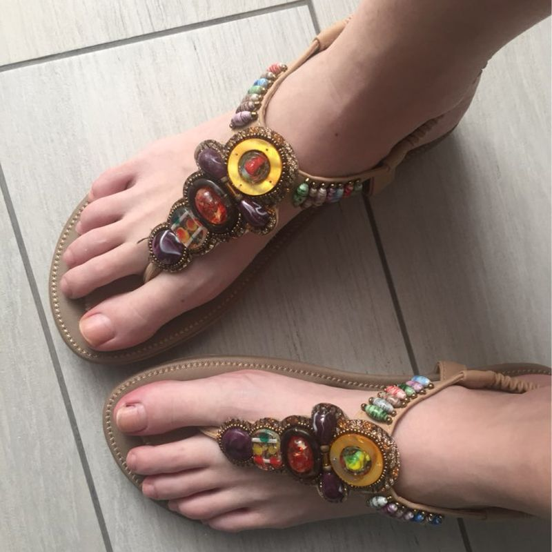 0771ba08f39 Size 36-42 2016 Bohemian Women Sandals Gemstone Beaded Slippers Summer Beach  Sandals Women Flip