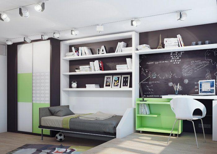 Wandfarbe Tafel kinderzimmer jungenzummer idee in farben grün grau weiß schwarze