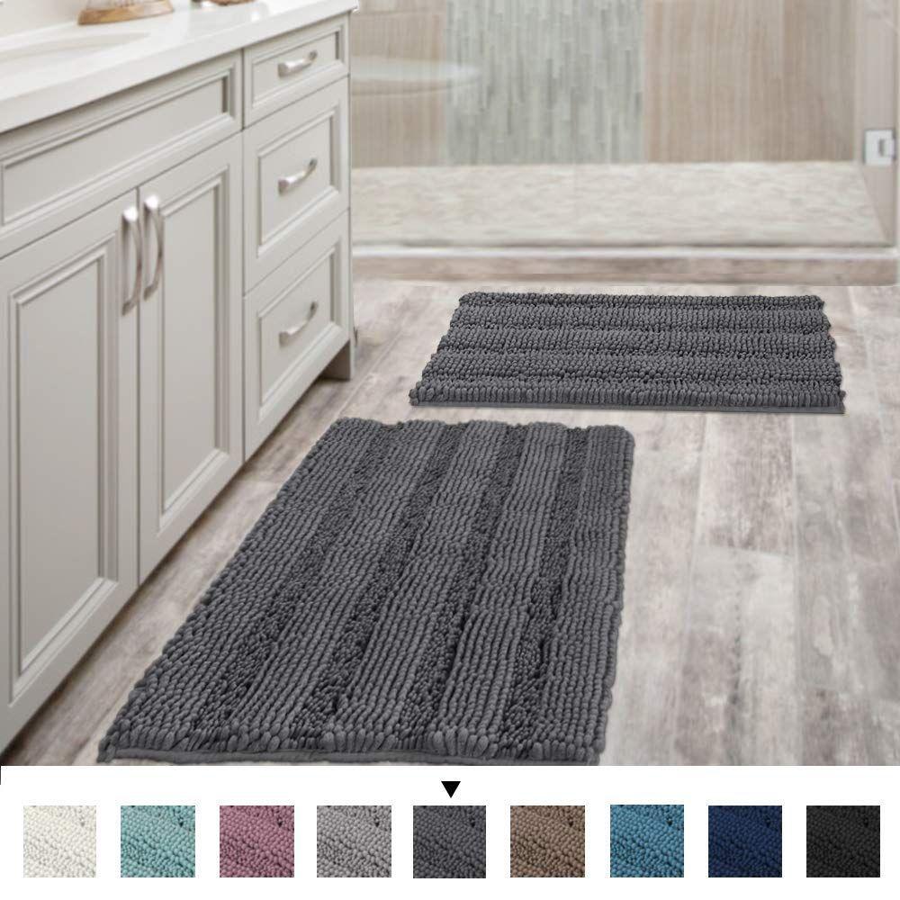 Grey Bath Mats For Bathroom Non Slip Ultra Thick And Soft Chenille Plush Striped Bath Grey Bathroom Rugs Grey Bath Mat Bath Rugs Sets [ 1000 x 1000 Pixel ]