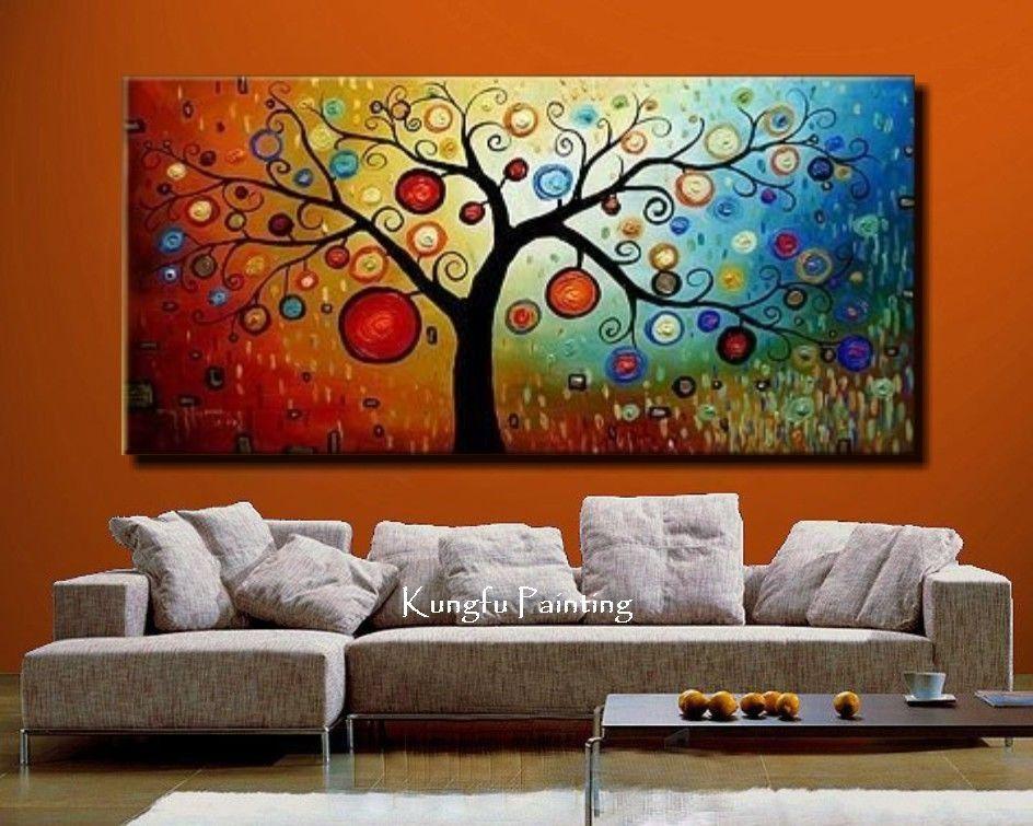 100 % pintura al óleo abstracta hecha a mano enmarcada imágenes de ...