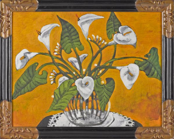 "Geoffrey Holder (American b. 1930), oil on board of calla lilies, 23"" x 30"". Provenance: The Estate of Kristina Barbara Johnson, Princeton, NJ. Realized Price: $1080"