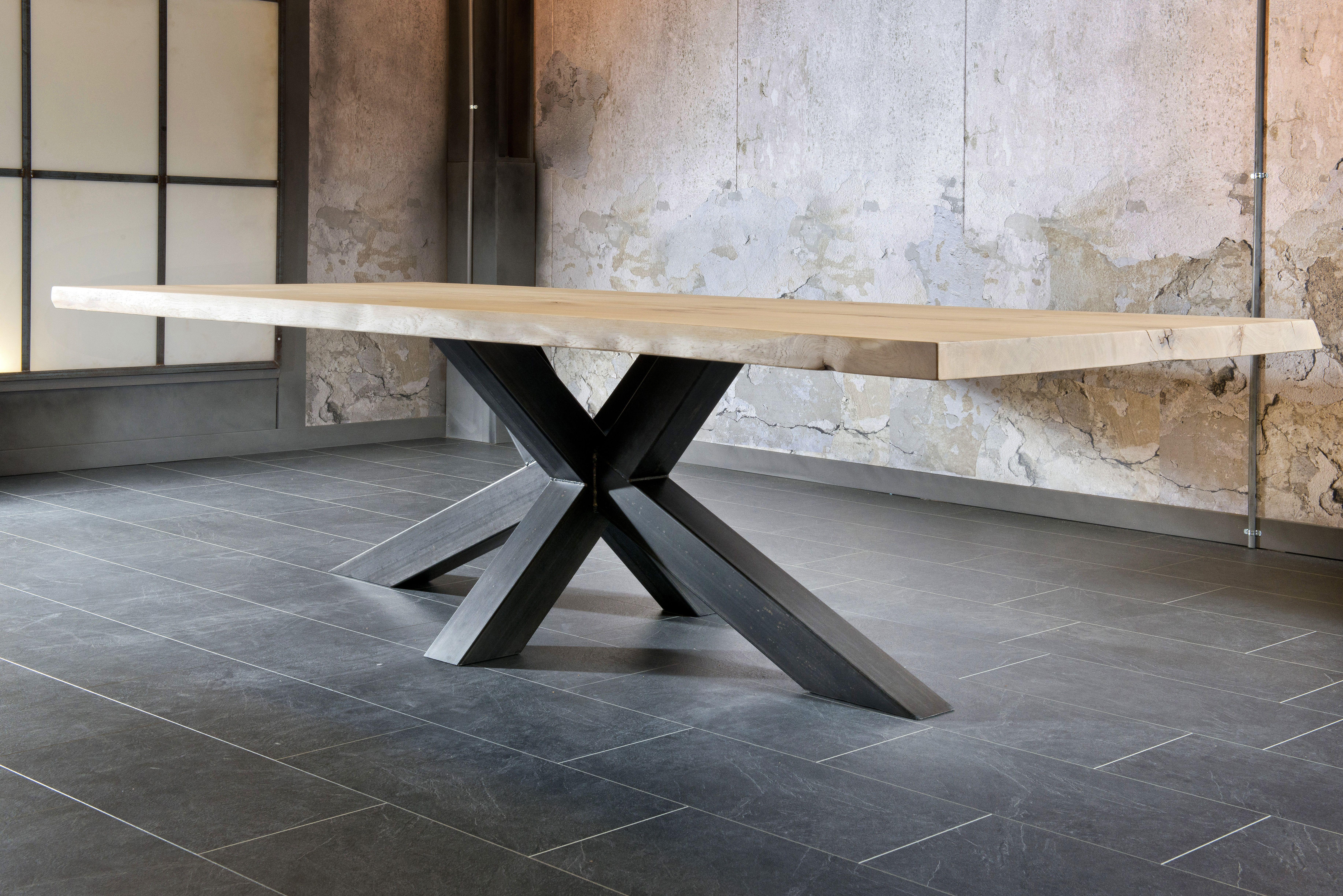 Salle A Manger Table Style Industriel Design Trunk Plateau Chêne
