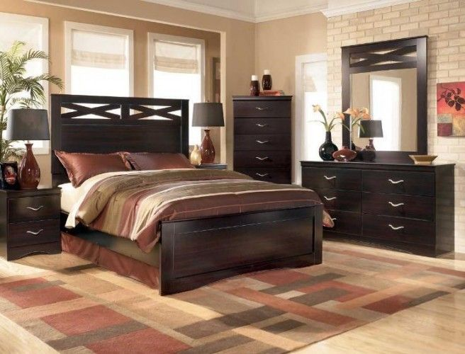Deep Merlot Finish Contemporary Queen Bed Set *NEW ITEM / SALE - Used Bedroom Sets