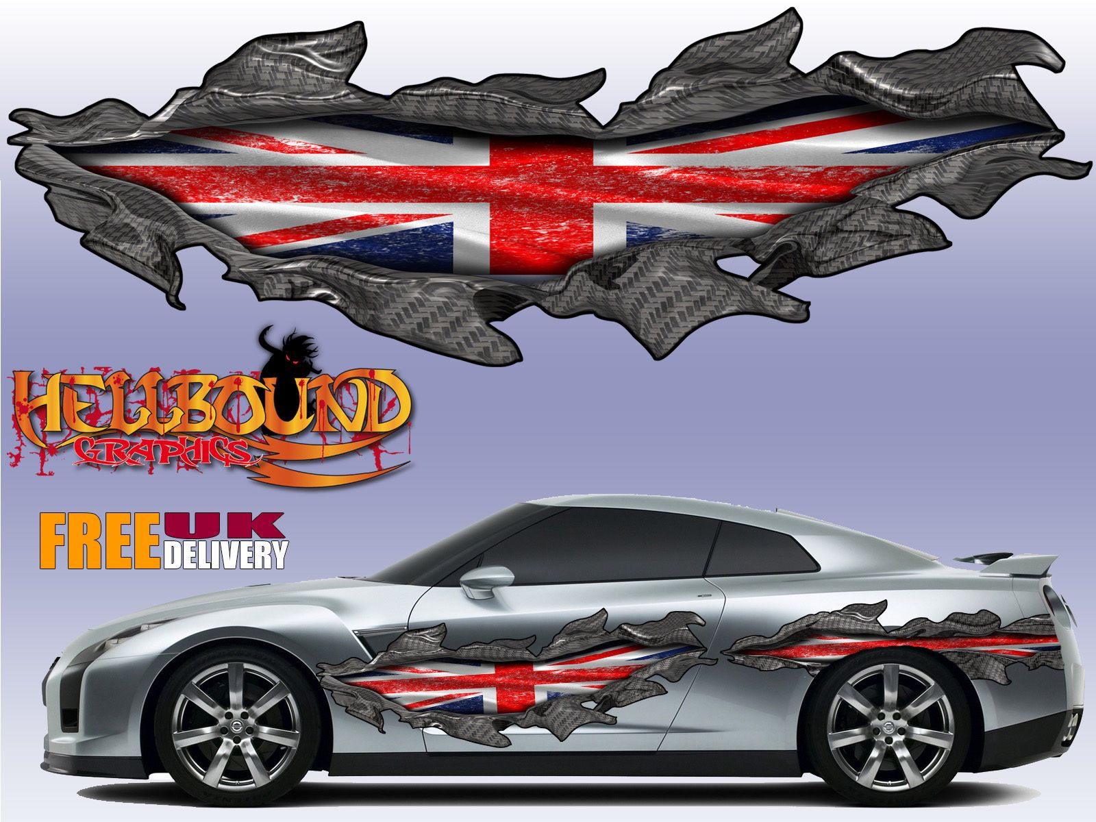 Pair of full colour union jack claw marks car vinyl decals graphics