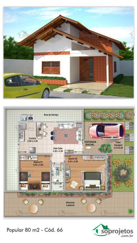 Projeto de casa popular com 80 m2 c d 66 em 2019 for Casa moderna 80m2