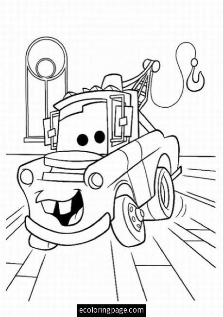 Cars Tow Mater Printable Coloring Page Ecoloringpage Com Monster Truck Coloring Pages Cartoon Coloring Pages Truck Coloring Pages