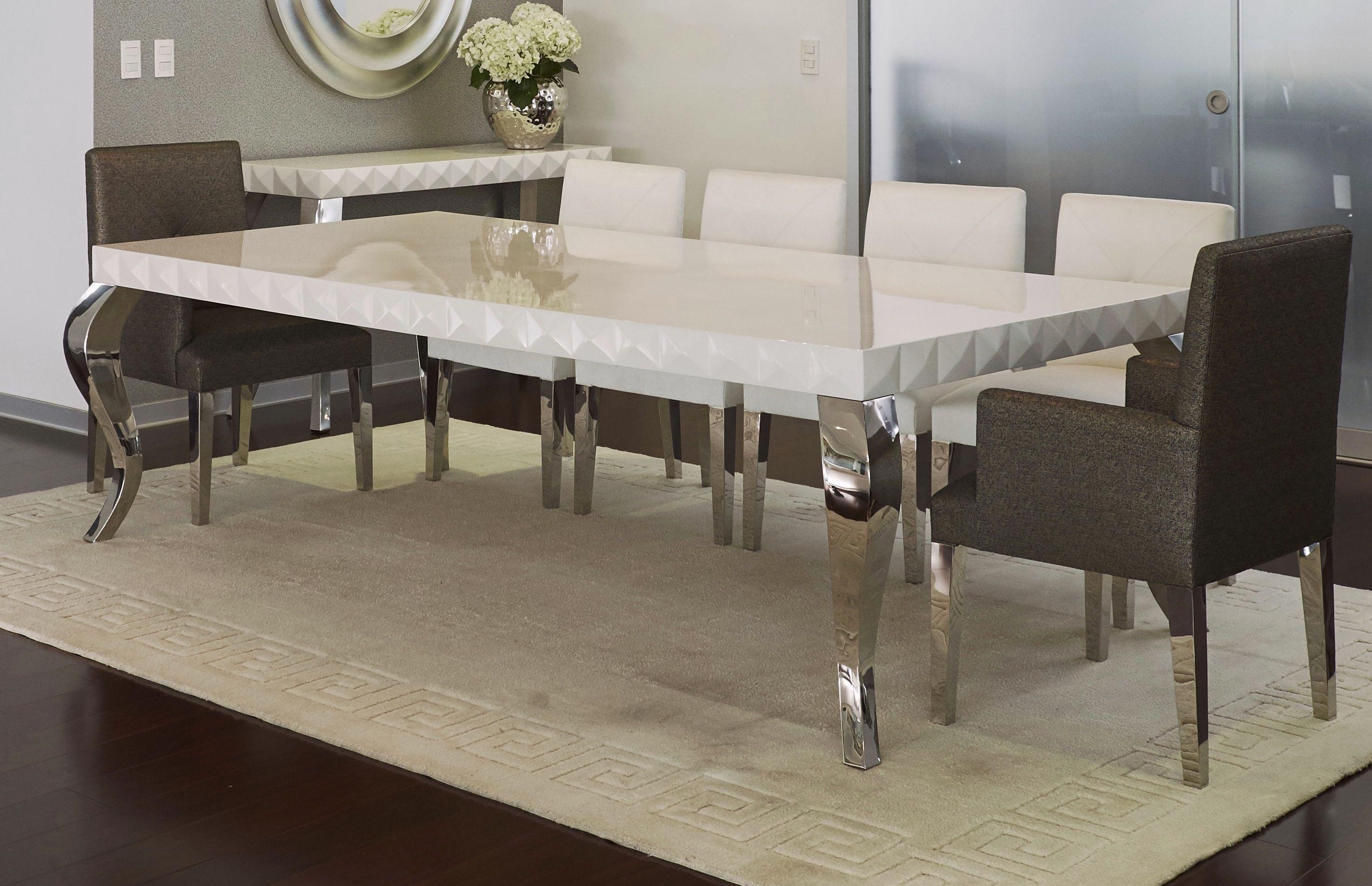 Mesa de comedor nazca tablero facetado acabado en for Patas muebles
