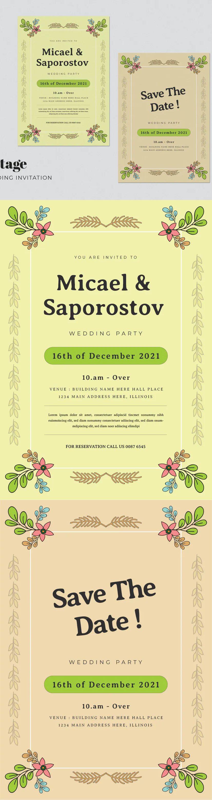 Vintage Wedding Invitation Card Template In 2021 Vintage Wedding Invitations Vintage Wedding Invitation Cards Wedding Invitation Card Template
