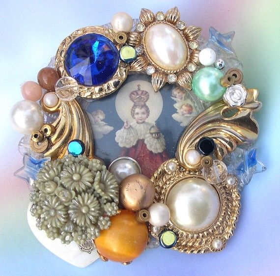 Upcycled Religious Brooch with Madonna by LizonesJewelry on Etsy, $15.50