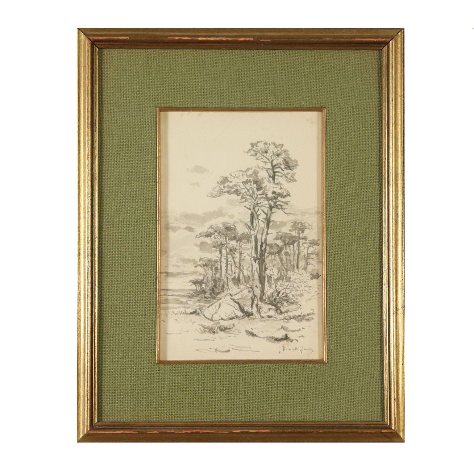 Photo of Aquarell von Giuseppe Puricelli Guerra Landschaft 19. Jahrhundert