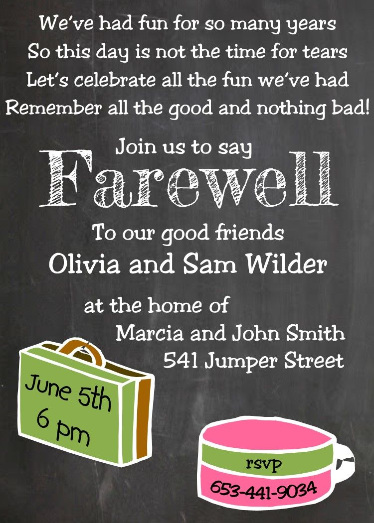 going away party invitations new selections chalkboard with