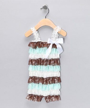 Teal & Brown Ruffle Romper - Infant & Toddler by Royal Gem Clothing on #zulily today!