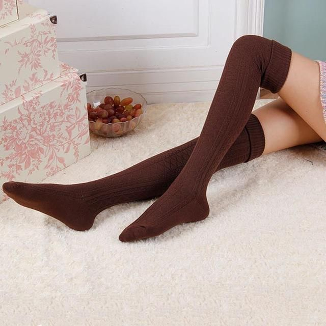a23cb5537 Feitong Fashion Women Stockings Winter Over Knee Socks Soft Knit Crochet Thigh  High Stockings Compression Stockings