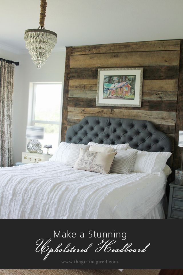 Amazingly stunning DIY Upholstered Headboard from @girlinspired made with fabric from Jo-Ann Fabric and Craft Stores.