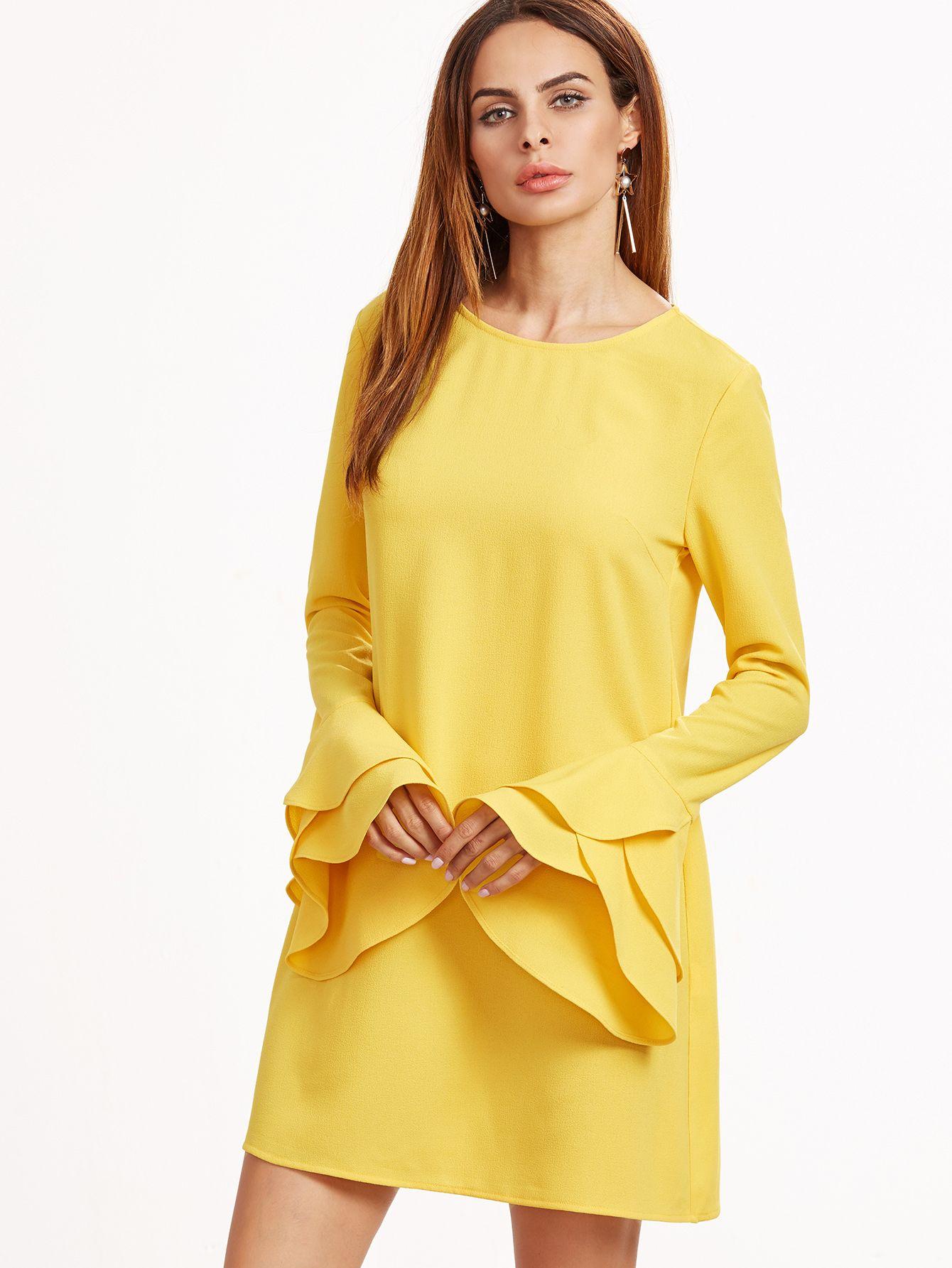 Yellow Layered Ruffle Sleeve Dress — 0.00 € ---------------------color: Yellow size: L,M,S,XS