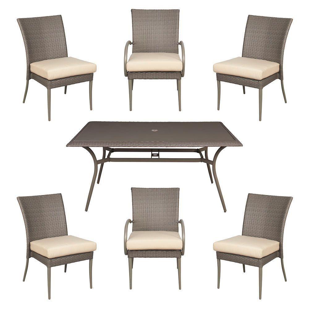Hampton bay posada piece patio dining set with bare cushions