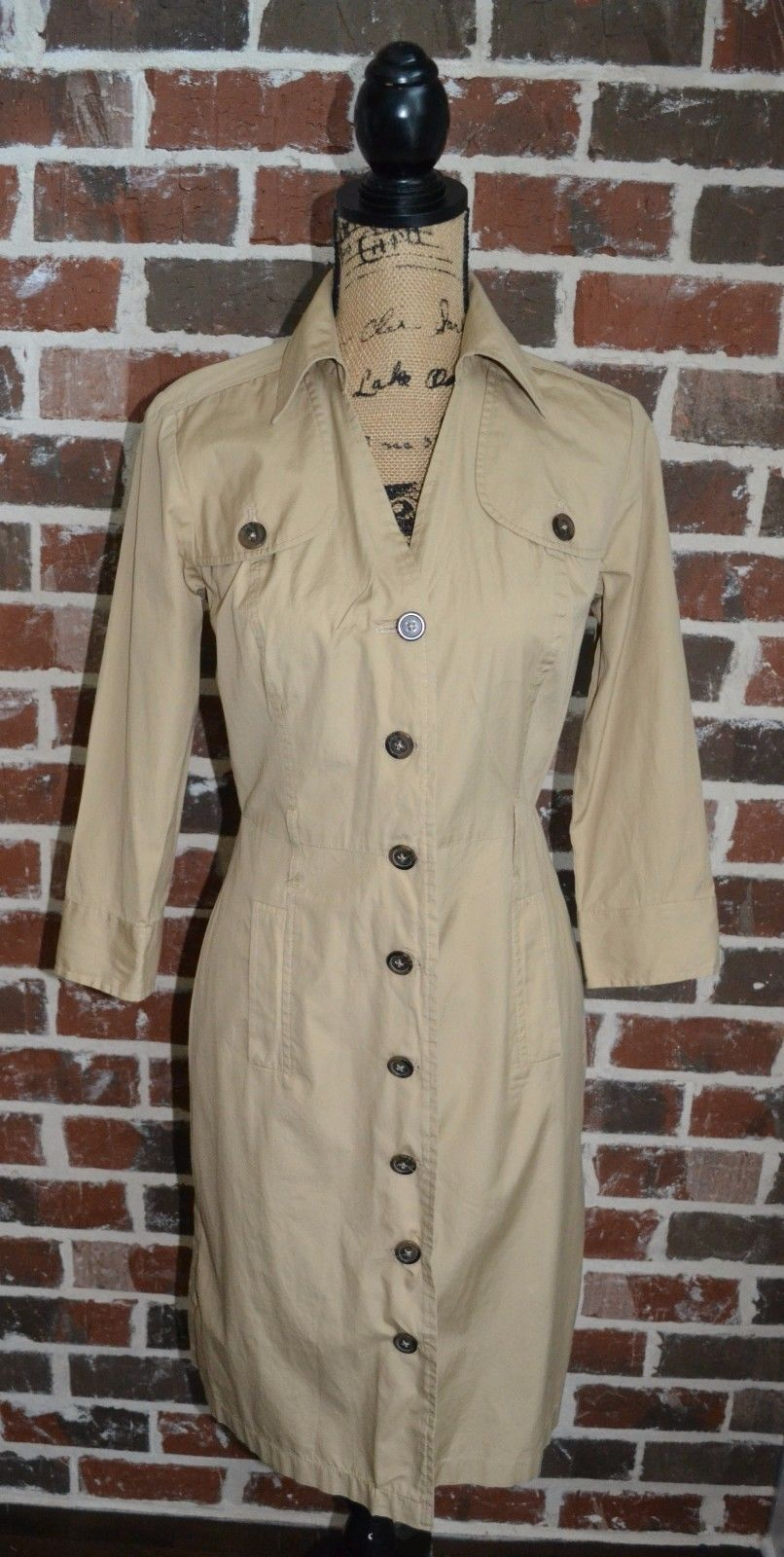Ann Taylor LOFT Tan Brown Button Down 3/4 Sleeve Shirt Dress Sz 4 100% Cotton | eBay
