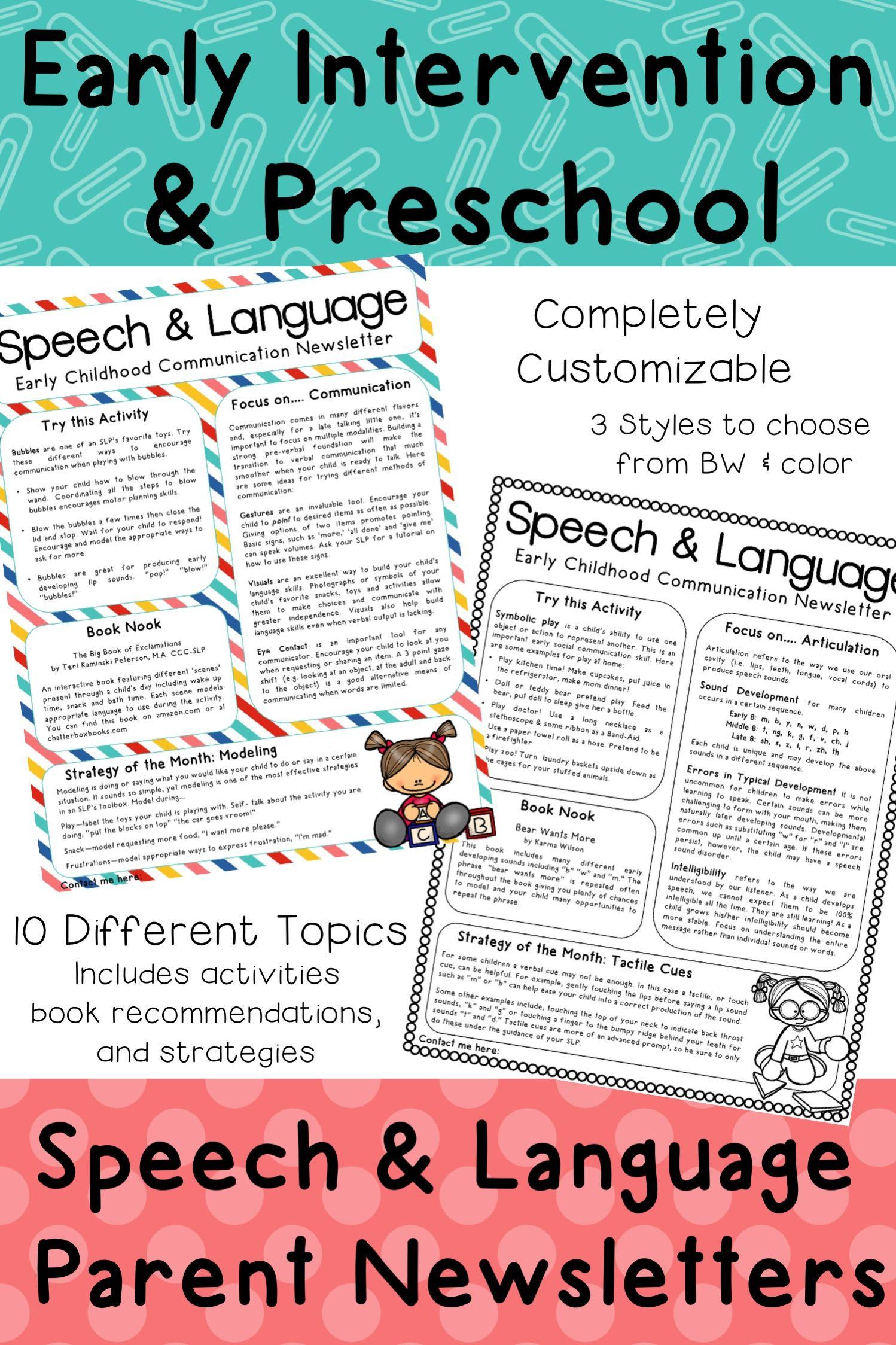 EI & Preschool Monthly Speech Newsletter for Parents | SLP