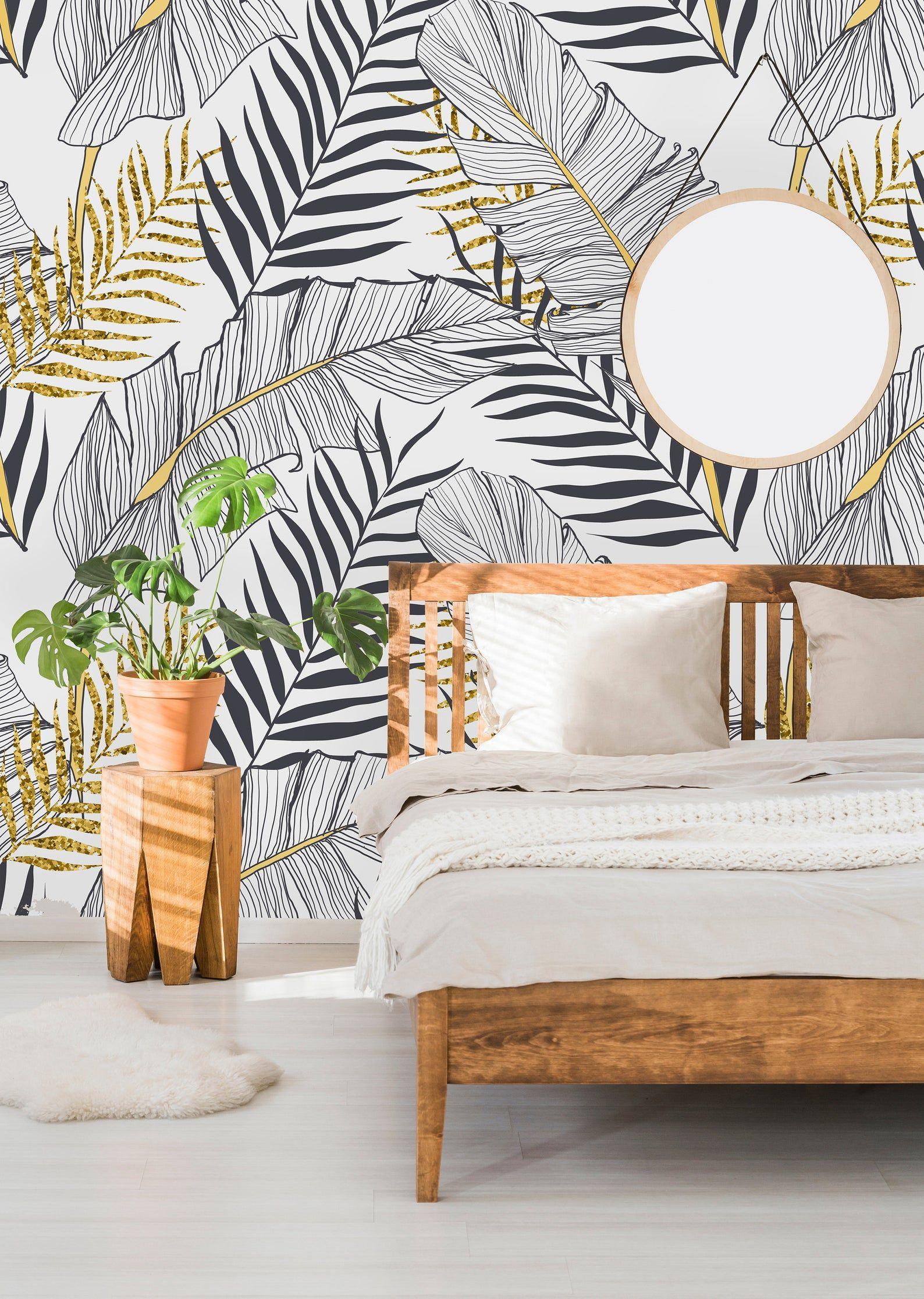Removable Wallpaper Self Adhesive Wallpaper Tropical Gold Leaves Peel Stick Wallpaper Mural Papier Peint Peinture Murale Decoration Salon Gris