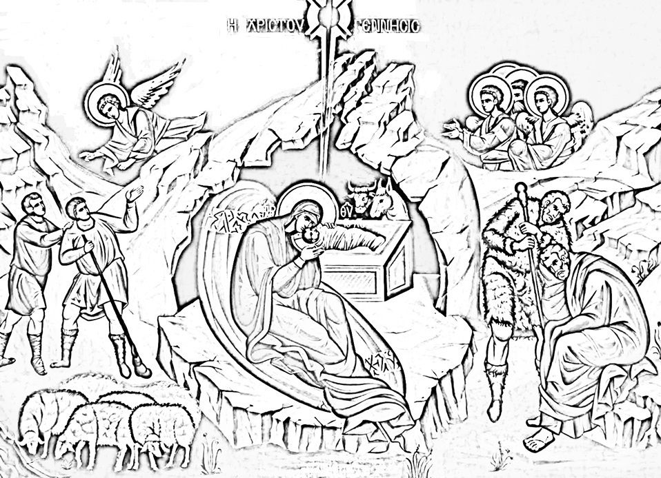 Christmas Coloring Symbolism Nativity Coloring Pages Orthodox