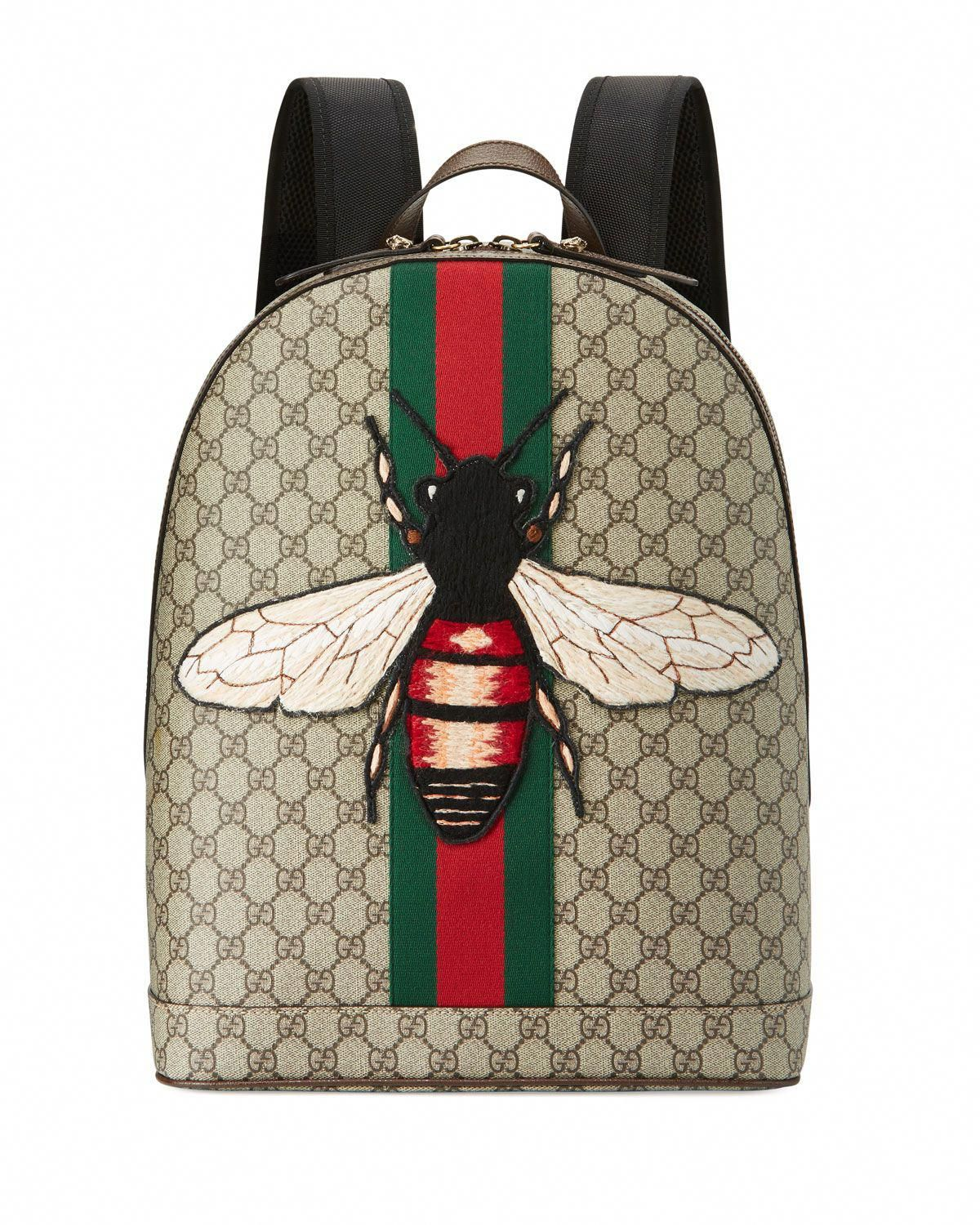 ea69876e5 Gucci Animalier backpack in GG supreme canvas with hand-embroidered and  -applied bee appliqu. Signature green/red/green web stripe down center  front.