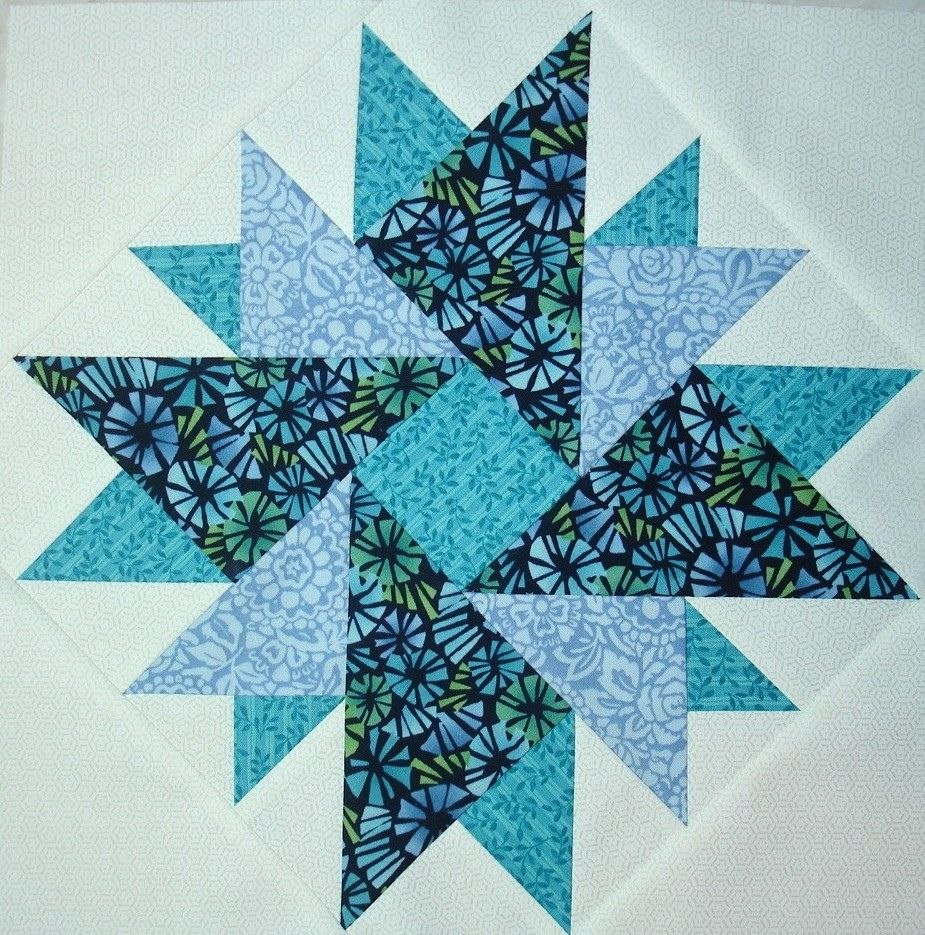 "Another block too add to my QAL that never made it to completion.  I loved surfing the net and finding other star patterns to add to ones featured in the QAL.     Wonderful pattern tutorial (and more) posted here:   www.quilterscache.com/D/DoubleAsterBlock.html  Thanks Marcia!    BLOCK FOR UFO NUMBER  5...FOR MY ""p & B Star Sampler""???"