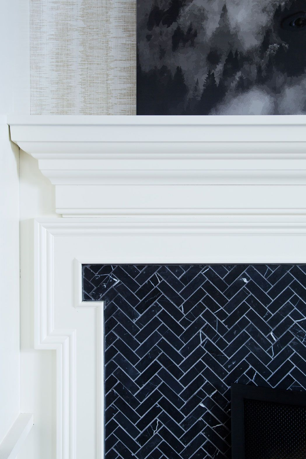 Dark Chevron Tile On This Fireplace Design The Curated