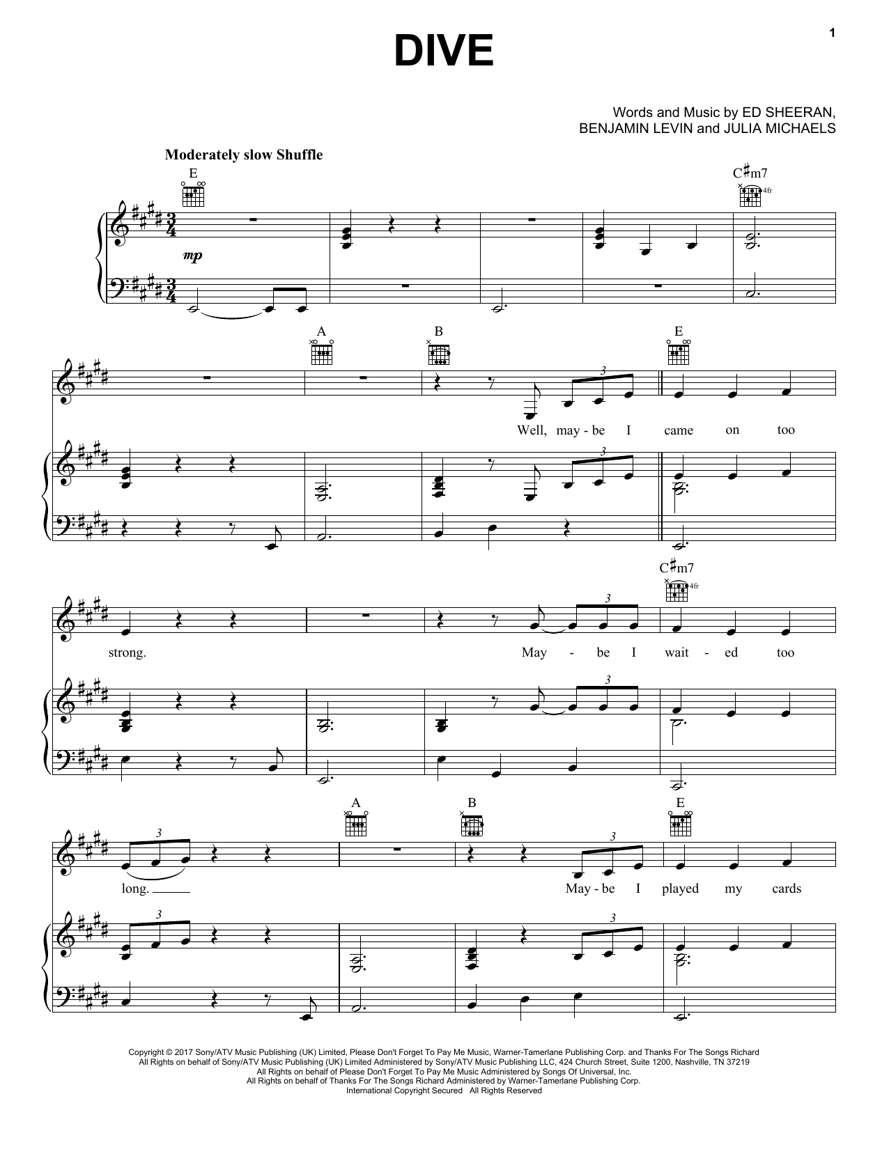 Ed Sheeran Dive Sheet Music Notes Chords Download Printable