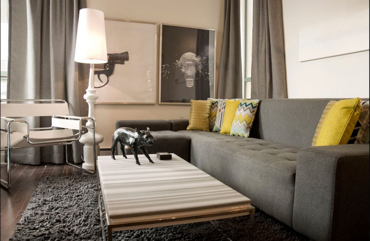 Grey And Yellow Modern Living Room By Heather Merenda