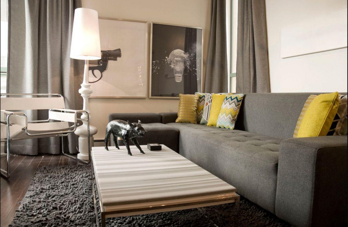 modern living room grey and yellow decor  yellow