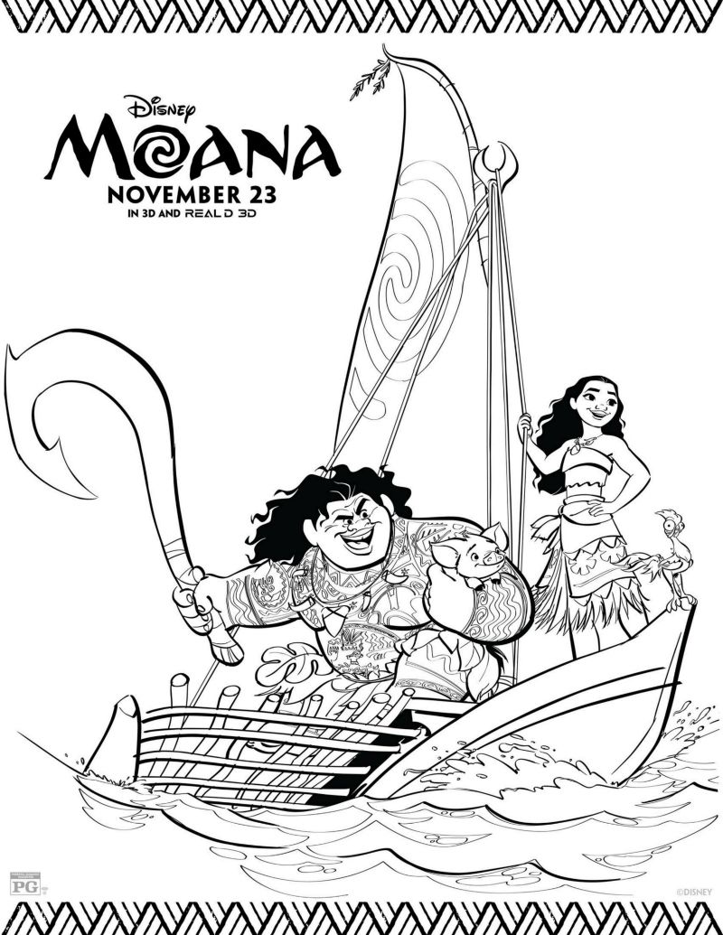 Disney Moana Movie Coloring Page  Disney coloring pages, Moana