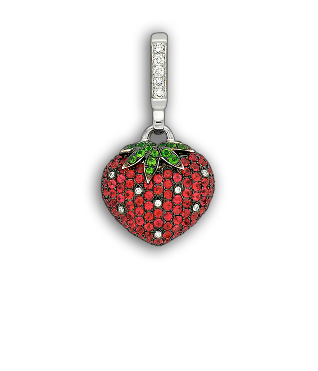 Theo fennell white gold ruby tsavorite diamond small for Strawberry shortcake necklace jewelry
