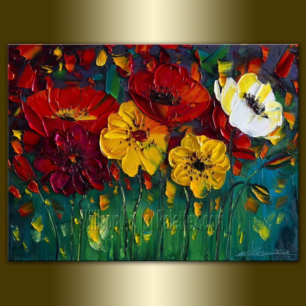 Original poppy poppies textured palette knife oil painting for Contemporary oil paintings