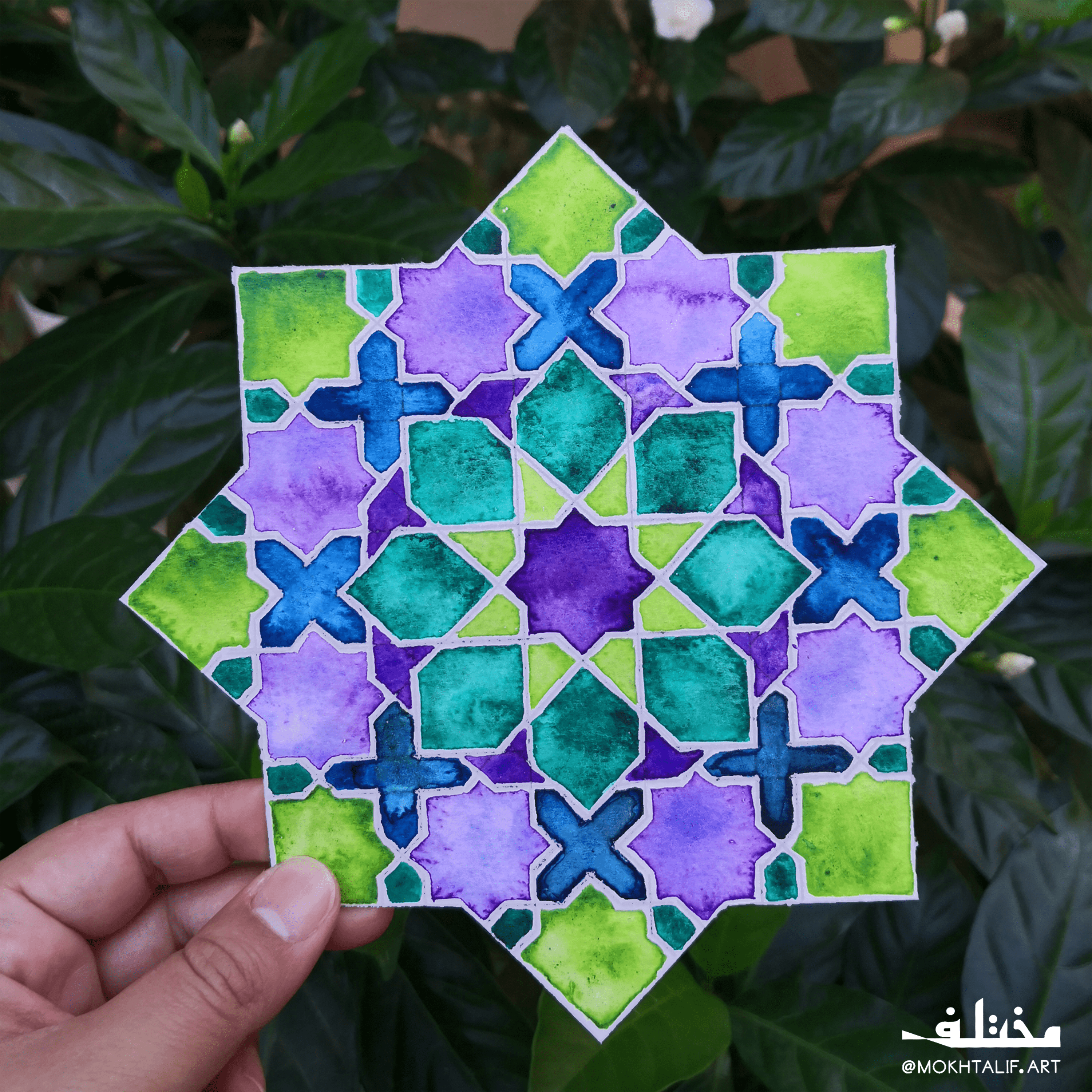 Islamic Art In The Jungle On Watercolour Canvas Islamic Patterns Geometry Art Watercolor Canvas