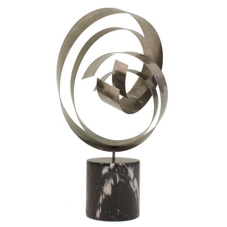 Satin Steel Ribbon Sculpture by Curtis Jere | From a unique collection of antique and modern sculptures at http://www.1stdibs.com/furniture/more-furniture-collectibles/sculptures/