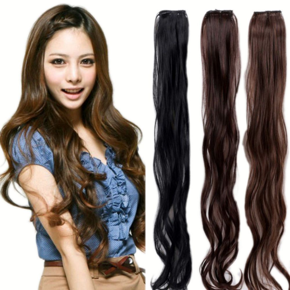 New sweet women ladies wavy hairpiece synthetic clip in hair