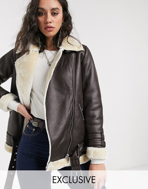 Only aviator jacket in faux leather with contrast