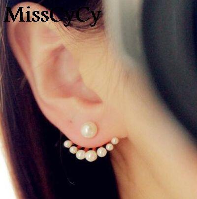 MissCyCy 패션 전면 및 Earings 시뮬레이션 진주 Earbobs 귀 피어싱 스터드 귀걸이 earings 패션 보석