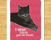 Cat Art Print - I Slow Blink You So Much - Cat Gifts I Love You Free Shipping Valentines Day Gifts