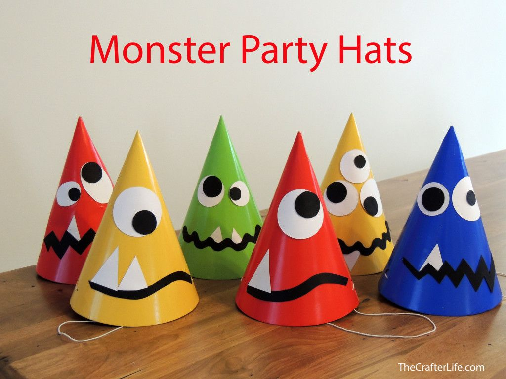 here is a fun and simple way to make plain party hats into monster