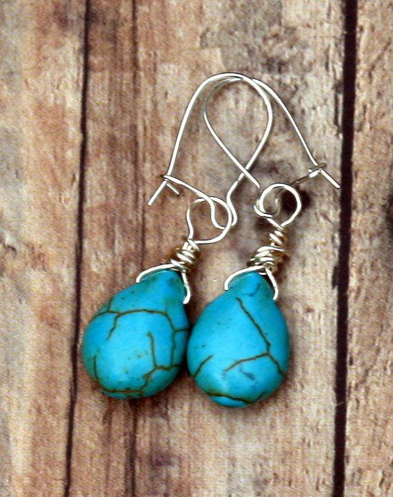 Tribal Inspired Turquoise Magnesite Drop by Geminivintagestore