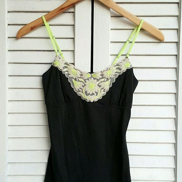 AE   Charcoal & Lime Cami Super soft charcoal grey cami-tank top w/ front lace detail & lime embroidery.  Made by: American Eagle Outfitters  Size: XS     **In great, pre-owned condition!** American Eagle Outfitters Tops Camisoles