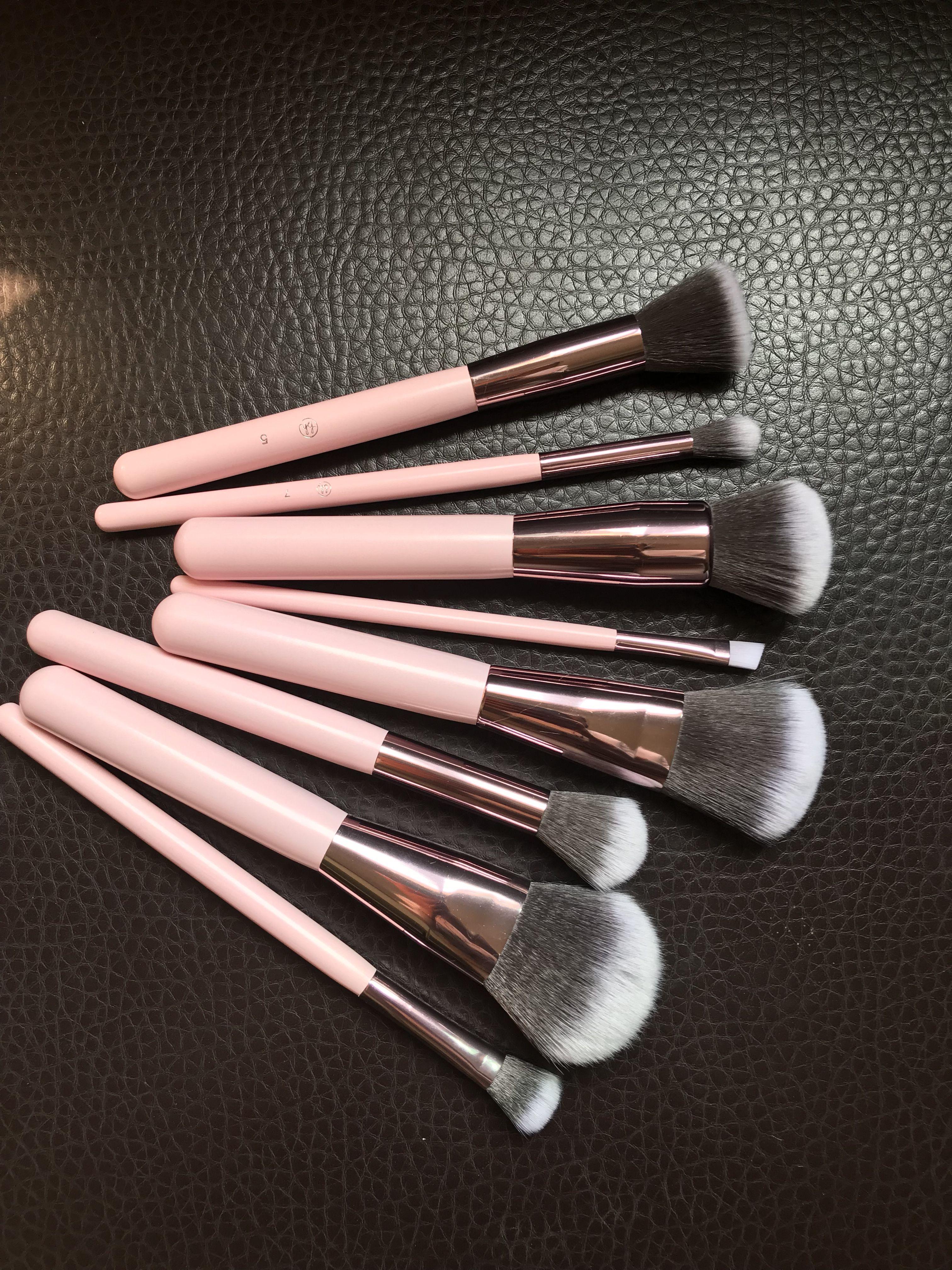 Vegan hair pink makeup brushes set wholesale in 2020