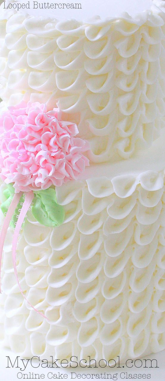 Looped Ribbons Of Buttercream With Hydrangea Video Cake Decorating Classes Butter Cream Creative Cake Decorating