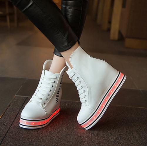 Womens LED Luminous Shoes Wedges