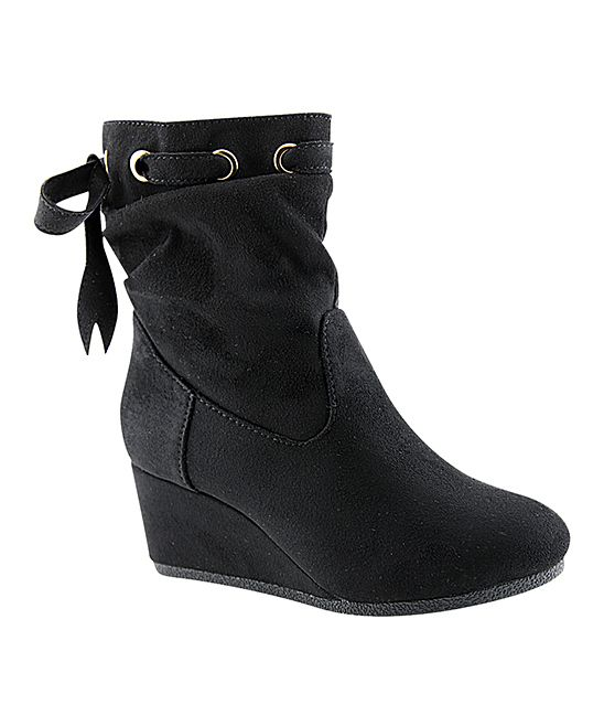 Black Ribbon-Tie Wedge Bootie