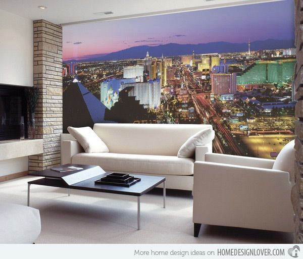15 Living Rooms with Interesting Mural Wallpapers | Wall murals ...
