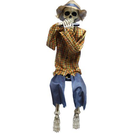 Animated Skeleton with Harmonica and Hat Halloween Decoration - skull halloween decorations