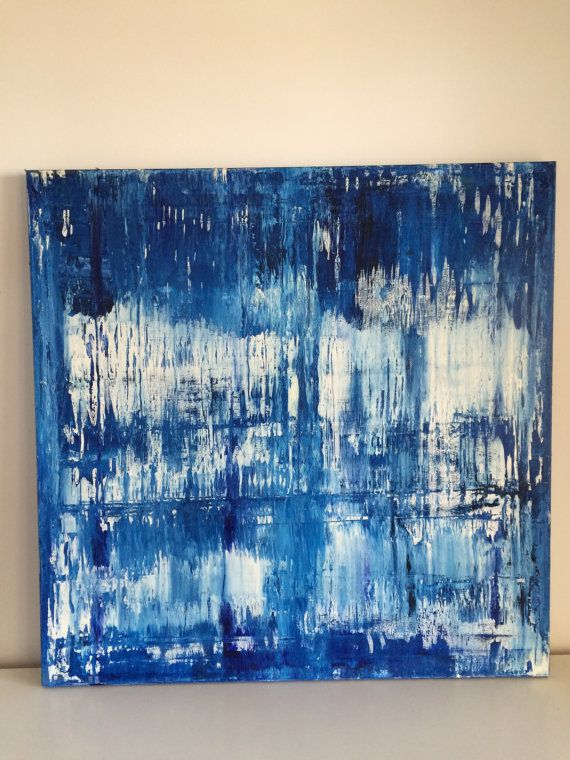 This blue sea, sky and ice toned painting is on trend, carrying through with blues this season. The thickly framed piece stands out from the wall