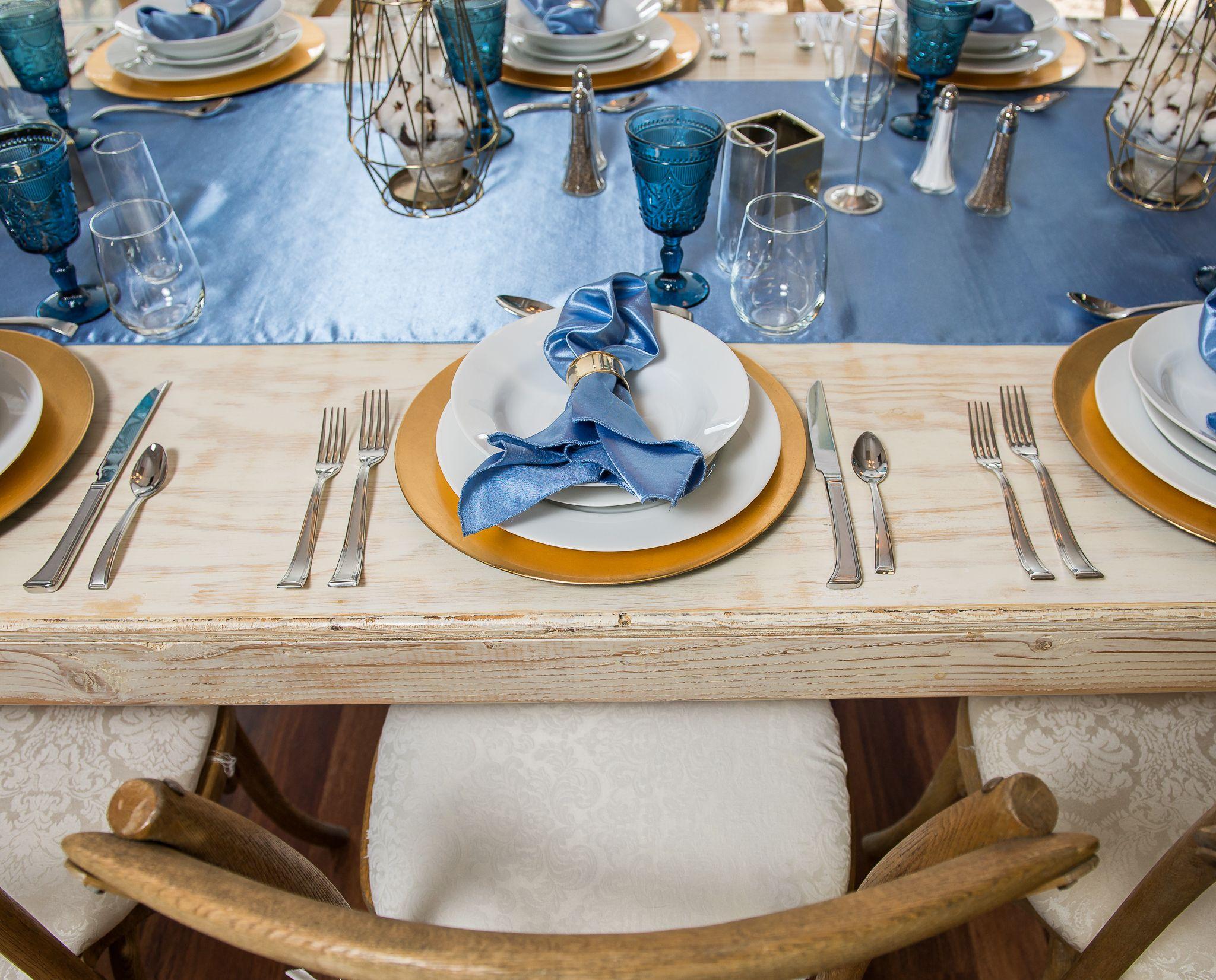 Cornflower Blue Shantung Reversible Wholesale Linens